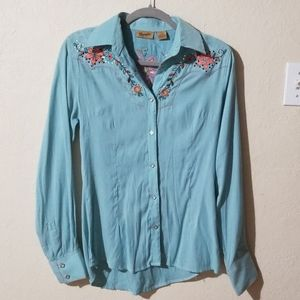 Wrangler|Pearl Button Up|Bling Floral Long Sleeve